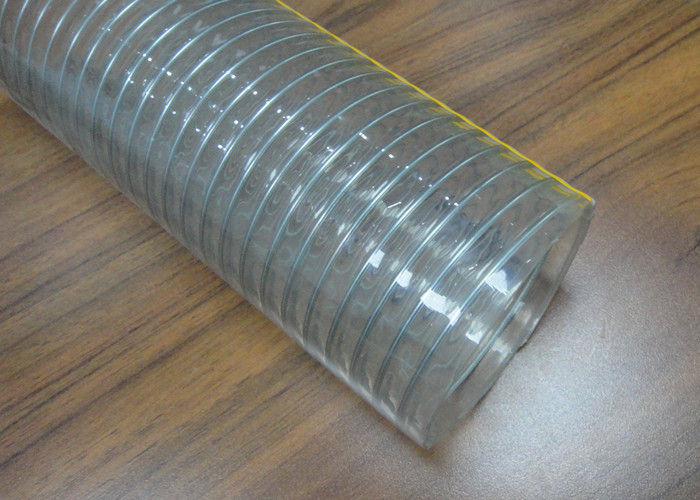 Food Grade PVC Spring Hose , Transparent Steel Wire Reinforced PVC Pipe /  Tubing