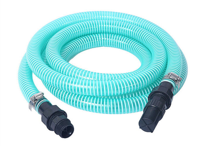 Flexible PVC Spiral Suction Hose Assembly / Vacuum Pump Pipe With Fittings