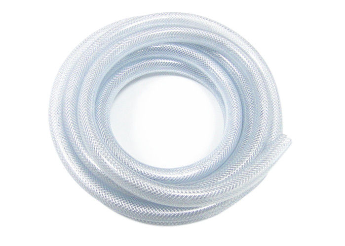 Clear Flexible Plastic Braided Pvc Tubing , Pvc Reinforced Hose With Anti Aging