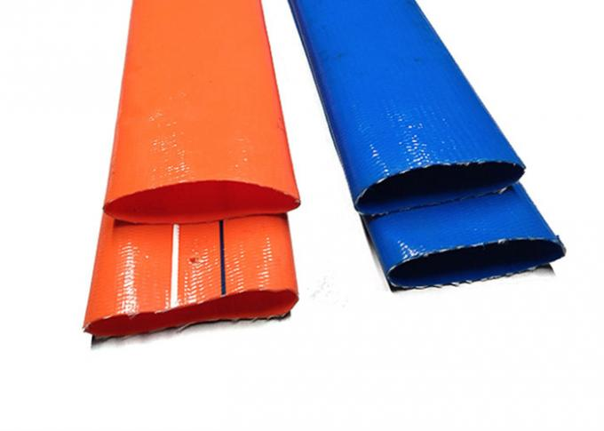 Blue Pvc Layflat Hose Aging Resistance For Water / Light Chemical Discharge
